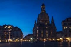 Frauenkirchekerk van 's nachts Dresden Royalty-vrije Stock Afbeeldingen