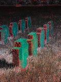 Frauenkirchen herdenkingskruisen met dramatisch effect Stock Fotografie