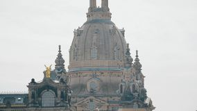 Frauenkirshe or Church of Our Lady dome telephoto lens shot. Dresden, Germany. Frauenkirshe or Church of Our Lady dome telephoto lens shot stock images