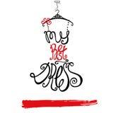 Frauenkleidschattenbild Bestes Kleid der Wörter Schwarzes, rot Lizenzfreie Stockfotografie