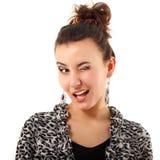Frauenkokette-Flirtblinzeln getrennt auf Weiß Lizenzfreie Stockbilder