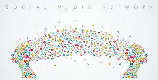 Frauenkopfformsocial media-Netzzusammensetzung Lizenzfreie Stockbilder