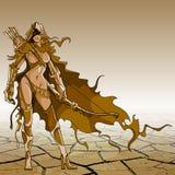 Frauenkrieger mit Pfeil und Bogen im Stil der Fantasie, braun lizenzfreie abbildung