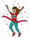 Frauenläuferkreuz die Ziellinie Überlagert, einfach zu bearbeiten Marathon Lizenzfreie Stockfotos