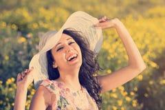 Frauenlachen glücklich Lizenzfreies Stockfoto