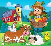 Frauenlandwirt mit Ernte und Tieren lizenzfreie abbildung