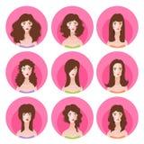 Frauenlanghaarfrisur-Ikonensatz Lizenzfreies Stockfoto