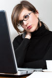 Frauenlaptop   stockfoto