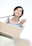 Frauenlautsprecher am Vorstand lizenzfreies stockfoto