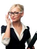 Frauenmanager in den Gläsern Stockbilder