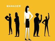 Frauenmanager, der mit anderem Team steht stock abbildung