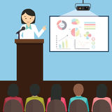 Frauenmädchenfrau geben die Darstellung, die Diagrammberichtsrede vor Publikumsvektorillustration darstellt Lizenzfreie Stockfotos