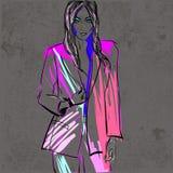 Frauenmode-Illustrationsfrau in der Jacke Lizenzfreie Stockbilder