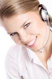 Frauennetzkopfhörer Stockbild