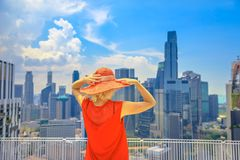 Frauenpanorama Chinatown stockfoto