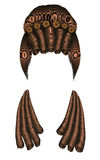 Frauenperücken-Haarlocken mittelalterliche Artrokokos, barockes hohes hairdress Brötchen mit Blumen lizenzfreie stockbilder