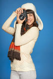 Frauenphotograph, der Bild von Ihnen macht Stockfoto