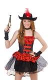 Frauenpirat mit Gewehr Stockfotos