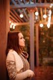 Frauenporträt in den Abendlaternenlichtern Stockfotos