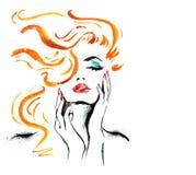 Frauenporträt mit der Hand Abstraktes Aquarell Art und Weiseabbildung Rote Lippen und Nagelaquarellmalerei Kosmetik advertiseme Lizenzfreie Stockbilder