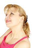 Frauenportrait auf einem Weiß Lizenzfreie Stockfotografie