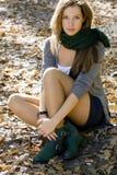 Frauenportrait in den Herbstfarben Lizenzfreies Stockbild