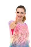 Frauenportrait mit den Daumen oben Lizenzfreie Stockfotografie