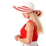 Frauenportrait mit einem Hut Stockbild