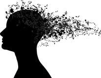 Frauenportraitschattenbild mit Musikanmerkungen als Haar vektor abbildung