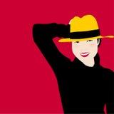 Frauenporträt im schwarzen Kleid und im gelben Hut mit Lächeln des Glückes   Vorbildliche Vektorillustration der Frauen Stockfotos