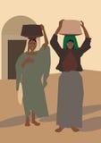 Frauenrückkehr vom Markt stock abbildung