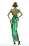Frauenrückseite im Retro- Modepailletten-kleid, elegante Weinleseart Stockbilder