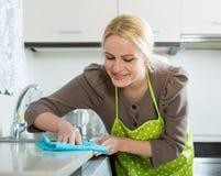 Frauenreinigung in der Küche Lizenzfreie Stockbilder