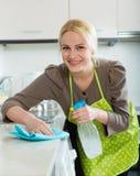 Frauenreinigung in der Küche Lizenzfreies Stockfoto