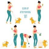 Frauenreinigungs-Hundeabfall, räumen nach Ihrem Haustier, Vektorillustration auf Lizenzfreie Stockfotos
