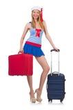 Frauenreisebegleiter mit Koffer Stockbild