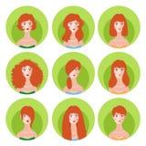 Frauenrothaarigefrisur-Ikonensatz Stockfotos