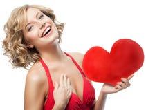 Frauenschönheit mit Herzen Lizenzfreie Stockfotos