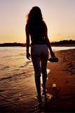 Frauenschattenbild Stockfoto