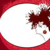 Frauenschattenbild auf einem roten Hintergrund Stockfotos