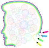 Frauenschattenbild gemacht durch Leuchtstoffmarkierungen Vektor Abbildung