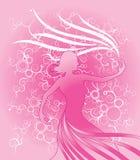 Frauenschattenbild mit Blumenhintergrund vektor abbildung