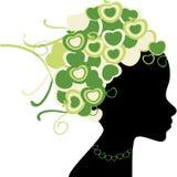 Frauenschattenbild mit dem Retro- Haar Stockbilder