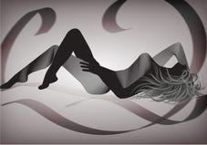 Frauenschattenbild mit einem luxuriösen Hintergrund Stockbilder