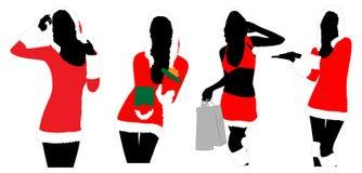Frauenschattenbilder des neuen Jahres Stockbild