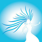 Frauenschattenbildfarben-Blauform lizenzfreie abbildung