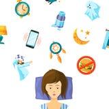 Frauenschlaf und Elementsatz für Traum stock abbildung