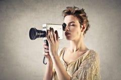 Frauenschmierfilmbildung stockfoto