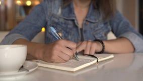 Frauenschreiben in der Zeitschrift, Tagebuch stock footage