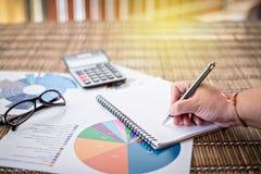 Frauenschreibensidee für Analyse-Geschäft und Finanz Stockfotografie